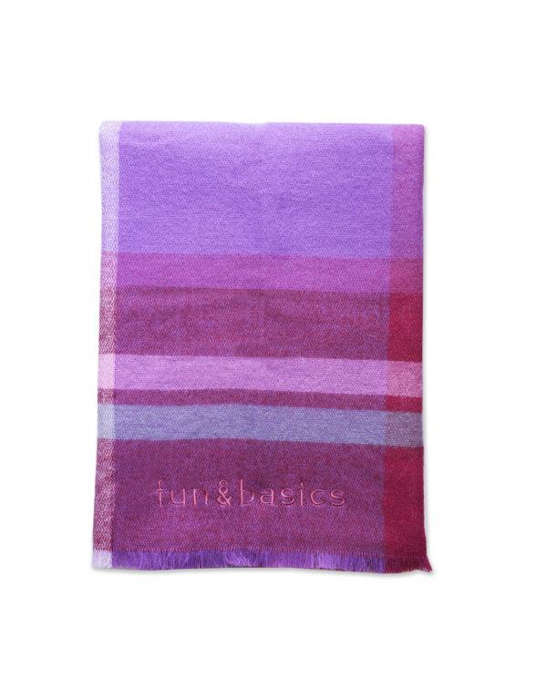 Bufanda manta cuadros rosa