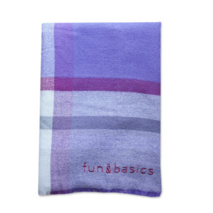 Bufanda manta cuadros violeta